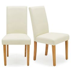 Upholstered in an easy clean, cream PU leather, the contemporary Hugo set of 2 dining chairs suit a variety of styles and would be a great addition to any dining space. Complete with foam-filled seats and backrests, these easy to assemble dining chairs are designed to provide plenty of comfort and feature tapered, oak finished solid wood legs to match a range of furniture.Other colours and fabric styles are also available. [Click here to view the complete Hugo dining chair collection] Cream Dining Chairs, Living Room Inspiration, Pu Leather, Solid Wood, Suit, Range, Colours, Legs, Contemporary