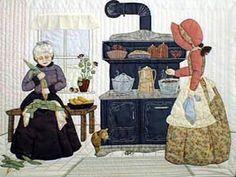 Bonnet Girls help grandmother cook in the kitchen - Quilt Block Pattern by Helen Scott