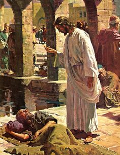 The Pool at Bethesda - Harry Anderson - IHS Bible - This was our Gospel at Mass today - Tuesday Wk. 4 Lent - Jn. 5:1-16