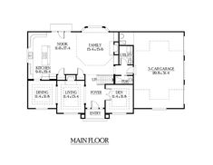 First Floor Plan of Craftsman   House Plan 87450 , like the first floor: swap kitchen and big family room, open walls between dining and where kitchen currently is, and that wall near the living room can stay.