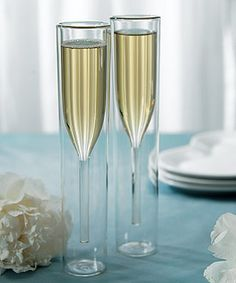 Contemporary Double-walled Champagne Flutes