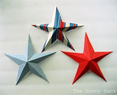 Tutorial Tuesday: 5 Point Paper Star | The Gunny Sack/ love this idea for hanging decorations for 4th