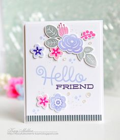 Hello Friend Card by Kay Miller for Papertrey Ink (March 2016)