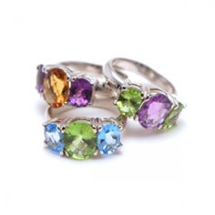 selection of 3 gem stonre rings available in various gemstone combinations £99. please contact us for availability.