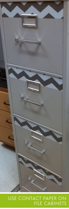 Cover your file cabinet with contact paper for an updated, modern look!