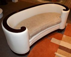 Art Deco leather & suede upholstered sofa