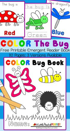Color The Bug Free Printable Emergent Reader Book - great for color recognition and beginner readers!