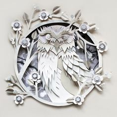 Owl papercut #Owl #papercut #hoot #paper #art #ghost #Helen #Musselwhite #Chewton #Glen