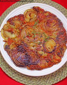 Bacon, Butter, Cheese & Garlic: Cheesy Potato & Onion Galette...a beautiful presentation of a darn tasty dish!