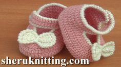 Crochet Bow Shoes Tutorial 37 Part 2 of 2 Zapatito Para Niña  http://sheruknitting.com/sherufashion/crochet-and-knitting-clothes/item/761-how-to-crochet-bow-shoes-tutorial-37-part-2-of-2.html In this tutorial I will continue crocheting this beautiful crochet bow shoes for baby girls. Any little girl will look adorable  these bow shoes for baby .