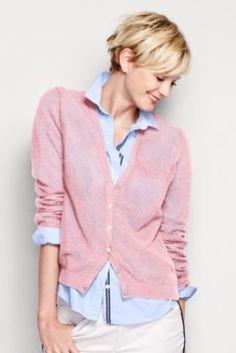 Noreen Carmody in a Women's Supima Pointelle Cardigan Sweater from Lands' End