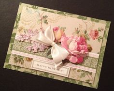 Shabbily Elegant Flocked Birthday Card with Anna Griffin Papers
