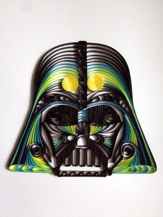 Quilled Star Wars artDarth Vader Helmet by AliaDesign on Etsy, $200.00