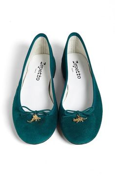 Two words: dinosaur charms. Repetto 'Cendrillon' Goatskin Suede Ballet Flat