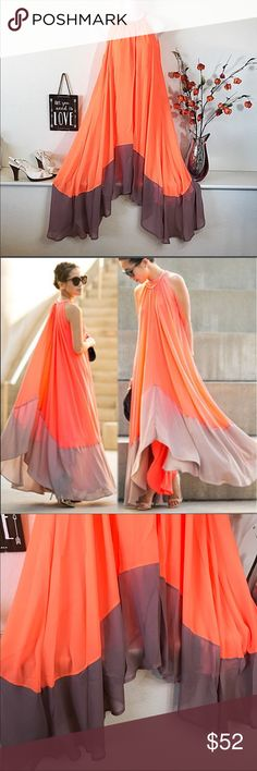 Chiffon Orange Tan Hi-Lo Halter Color-block Dress Chiffon Orange Tan Hi-Lo Halter Color-block Flowing Dress. Beautiful lightweight Chiffon fully lined dress. New in package. Dresses Midi