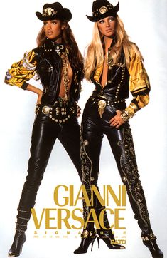 Gianni Versace Yasmeen Ghauri and christy turlington, 1991 #VintageVersace