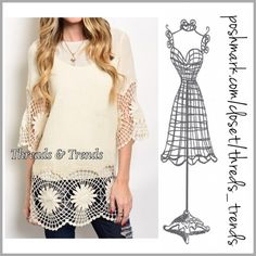 New! Filtered Light Tunic Breezy filtered light tunic in a vanilla color. Featuring crochet lace sleeves, hem and keyhole closure on back. Made of a semi sheer cotton. Pair with a Cami and leggings. Size S, M, L Threads & Trends Tops Tunics