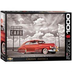 "1948 Chevy Fleetline Aerosedan ""Cruisin' America"" Jigsaw Puzzle - PZ-005P- Classic Cars, Classic Car, Classic Car Memorabilia, Classic Chevy."
