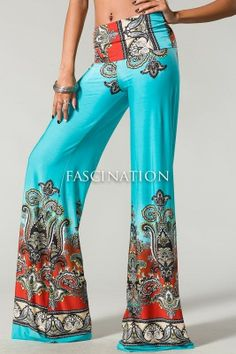 Plus Size Sexy Fold Over Waist Aqua Paisley Palazzo Yoga Tall Pants Bohemian Hippie Clothes, Bohemian Pants, Hippie Outfits, Hippie Pants, Yoga Fashion, Girl Fashion, Fashion Outfits, Fashion Pants, Mix Match Outfits