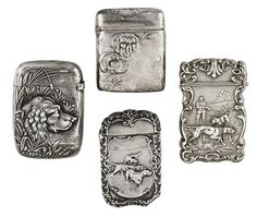 Photo Credit: Courtesy of Bonhams. A group of four American sterling silver match safes (Estimate: $800-1,200)