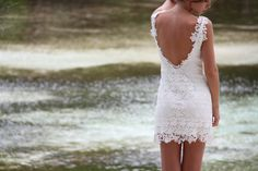 Mini lace dress 'Kisses' love this cut! Too bad she can't do it in white anymore... maybe she can locate a similar pattern lace :) Beautiful low v back ~ open back short dress that still looks classy. Perfection for rehearsal dinner or beach wedding casual look.