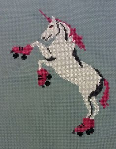 This roller skating unicorn was just begging to be made into a cross stitch pattern. Full kits will be available soon, but until then, enjoy this instant download.