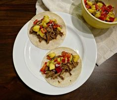 A Squared: What's For Dinner Wednesday: Slow Cooker Jerk Pulled Pork Tacos with Mango Salsa