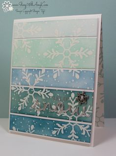 I used the Stampin' Up! stamp set called Holly Jolly Greetings and the Christmas Greetings Thinlits Dies (available in a bundle) to create my card to share today.  My card layout was inspired by Can Y