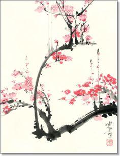 Sumi-e, modern Japanese and Chinese brush painting by Jan Zaremba Sumi E Painting, Japan Painting, Cherry Blossom Watercolor, Cherry Blossoms, Chinese Painting Flowers, Art Chinois, Bamboo Art, Art Japonais, Wow Art