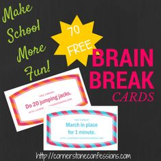 Make School More Fun with These Brain Break Cards--Printable Includes 70 FREE Cards