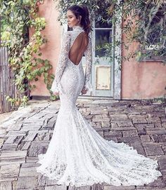 Mermaid wedding dress with sleeves - The dress expands, beginning from the knee area. The dresses may also be customized made based on the physique a. Long Wedding Dresses, Long Sleeve Wedding, Elegant Wedding Dress, Bridal Dresses, Wedding Gowns, Blue Wedding, Wedding Venues, Wedding Rings, Mermaid Wedding Dress With Sleeves