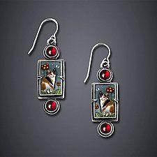 """Calico Cat Earrings by Dawn Estrin (Silver Earrings) (1.5"""" x 0.5"""") Artful Home. € 76,50"""