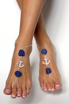 Hey, I found this really awesome Etsy listing at https://www.etsy.com/listing/201832133/anchor-and-sea-glass-barefoot-sandals