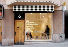 Shop front SIS Deli+Café in Helsinki, Finland. Identity by Rasmus Snabb.