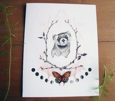 Ferret Botanical Illustrated Cards Inlcudes 6 by BurrowingHome, $18.00