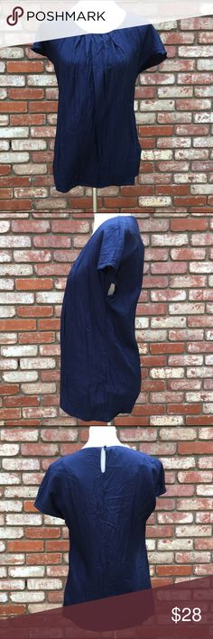 """Boden Navy Blue Silk Blend Blouse Boden navy blue silk blend Blouse, size 8. One button closure. Needs ironed.  Lying flat armpit to armpit 17.5"""" Length 26.5"""" Check out my other listings! Boden Tops Blouses"""