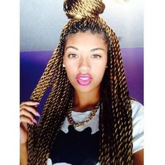 Black hair trend Senegalese twists found on Polyvore featuring polyvore, fashion, accessories, hair accessories, hair, girls, hairstyles and black hair accessories
