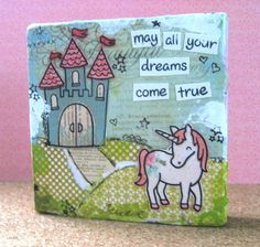 Christy Gets Crafty: Altered Art Canvas (video tutorial) - Lawn Fawn Unicorn Art, Simon Says Stamp, Diy Canvas, Lawn Fawn, Diy For Girls, Kids Cards, Greeting Cards Handmade, Diy Painting, Altered Art