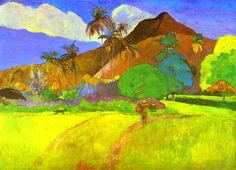 In 1891 Paul Gauguin painted Tahitian Landscape using oil on canvas. Paul Gauguin went to Tahiti in 1891 in search of new, exotic motif. Paul Gauguin, Henri Matisse, Claude Monet, Impressionist Artists, Peter Paul Rubens, Edgar Degas, Oil Painting Reproductions, Art Moderne, Pablo Picasso