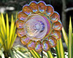 Repurposed Glass Flower, Sun Catcher Glass Garden Art - Hemera Iridescent Carnival Glass Flower, Made from Glass Plates