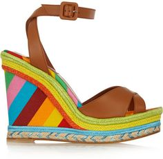 Valentino Printed leather, raffia and canvas wedge sandals