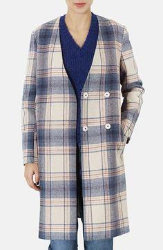 Topshop Check Print Boyfriend Coat