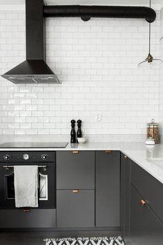 Grey kitchen with copper handles