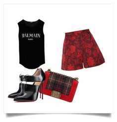 The look like by dankarys on Polyvore featuring moda, Balmain, Jill Stuart, Christian Louboutin and Chanel