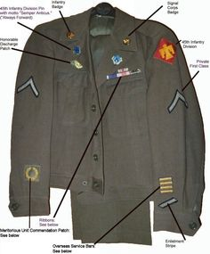 U S Army Uniform Priviate Class Conrad- Ed Sullivan show Military Gear, Military Police, Military History, Military Fashion, Us Army Badges, Ww2 Uniforms, Military Uniforms, Military Costumes, Military Insignia