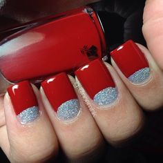 Red with glitter half moon nail art - 55 Hottest Red Nail Art Ideas