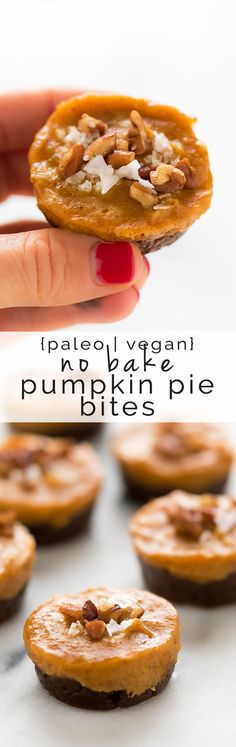 No Bake Pecan Pumpkin Pie Bites are the perfect fall and holiday dessert! They come together quickly, are refined sugar-free and gluten-free!