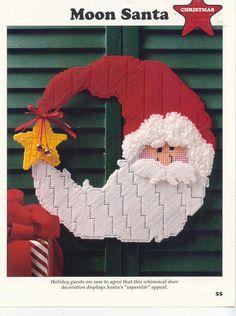 Moon Santa   plastic canvas pattern    Wall / Door by puddinpop