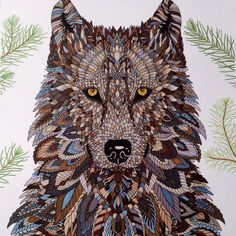 Another version of the Wolf - The Menagerie Animal Portraits to Color - colored by C.Ishii