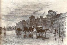Felix Buhot  Les fiacres une matinée hiver au quai de Hôtel-Dieu 1876 eau-forte